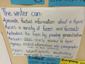 Criteria for our current writing focus.
